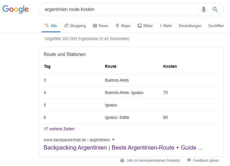 argentinien route kosten snippet