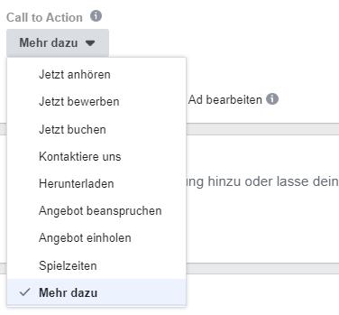 Facebook Werbeanzeigen Call to Action