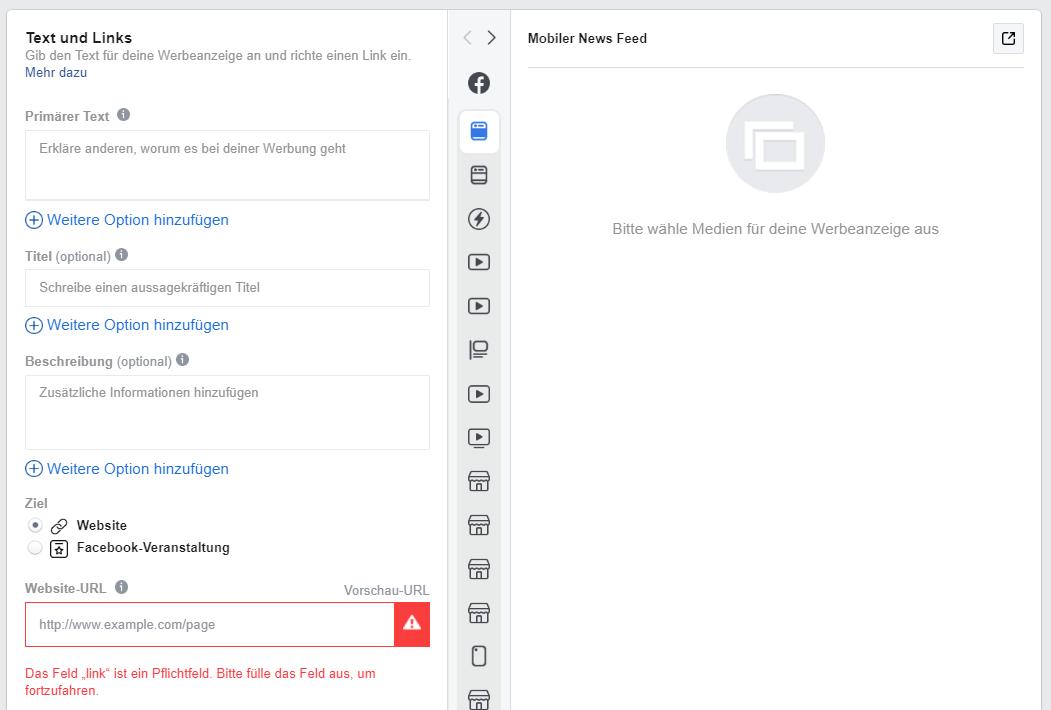 Aufbau einer Facebook Werbeanzeige
