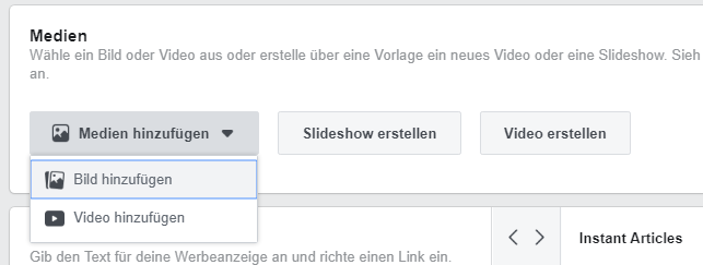 Facebook Werbeanzeigen Medien hinzufügen