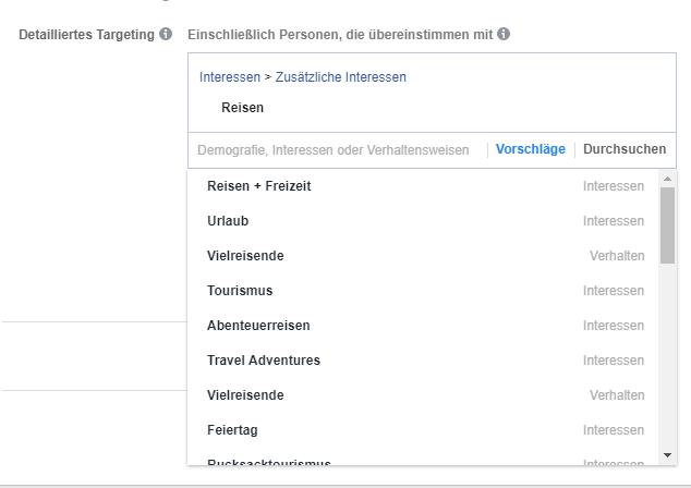 Facebook Targetierung Vorschläge