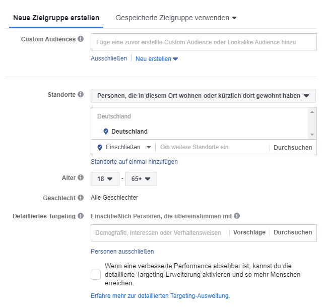Targetierung Facebook